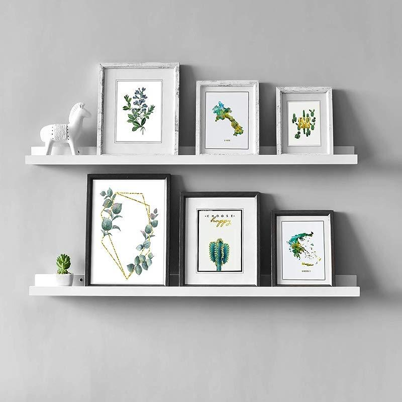 WELLAND Vista Picture Ledge Floating Ledge Wall Shelves 36 Inch Set Of 2 White