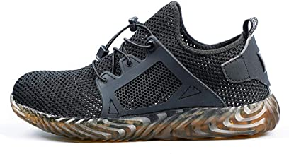 Breathable Steel Toe Shoes for Men Womens, Huazi2 Safety Cap Hiking Trainers Boots Work Shoes Grey