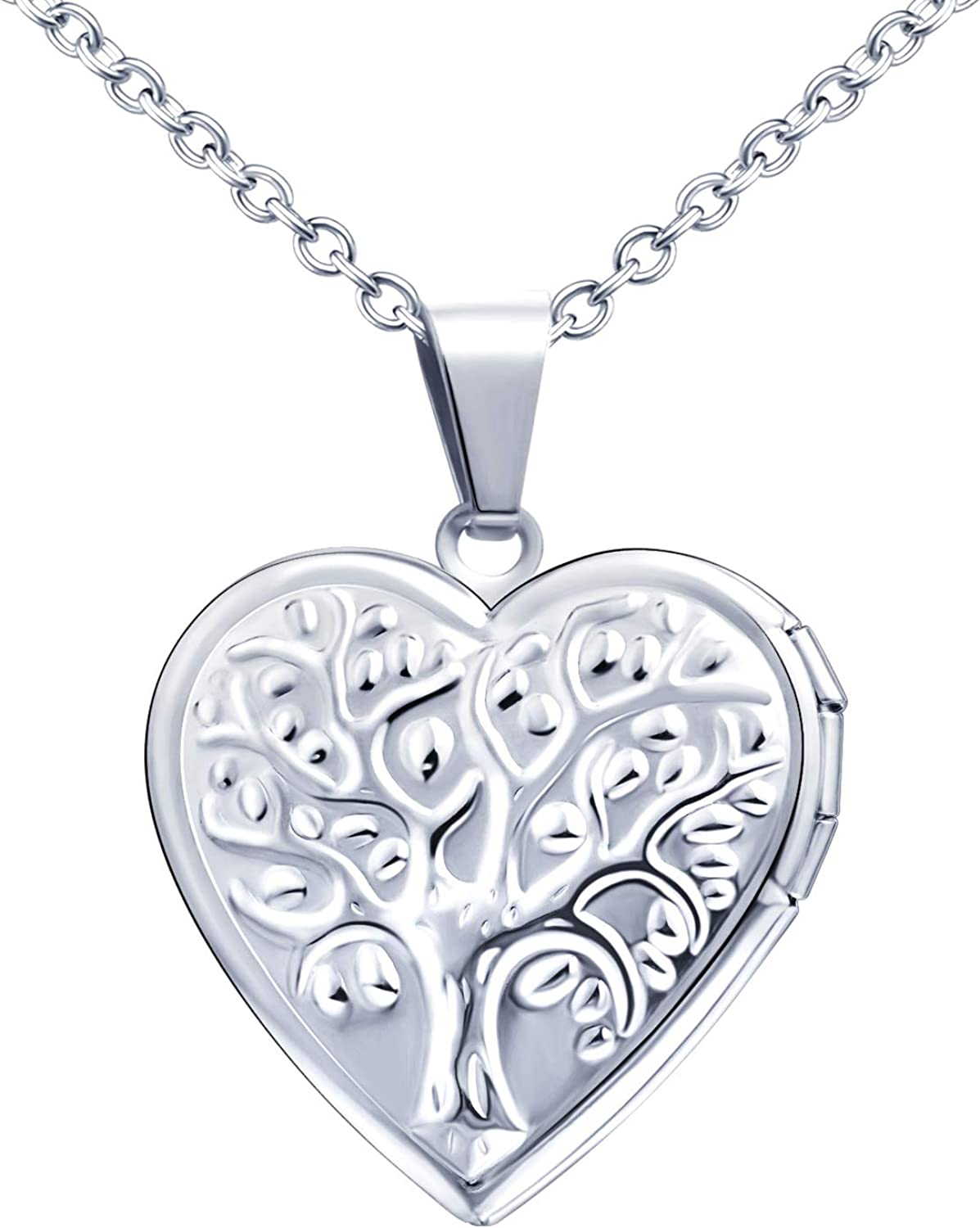 MicLee Love At the price San Antonio Mall of surprise Photo Locket Pendant Tree Necklace o Steel Stainless