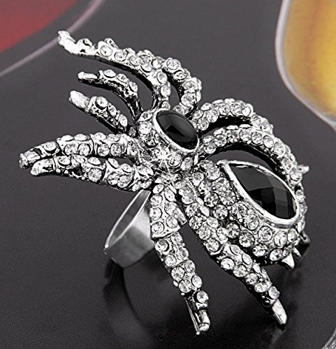 Ecloud Shop® 54X44mm Spinne Gotik Strass Tibet Silber Ring Fingerring Verstellbar