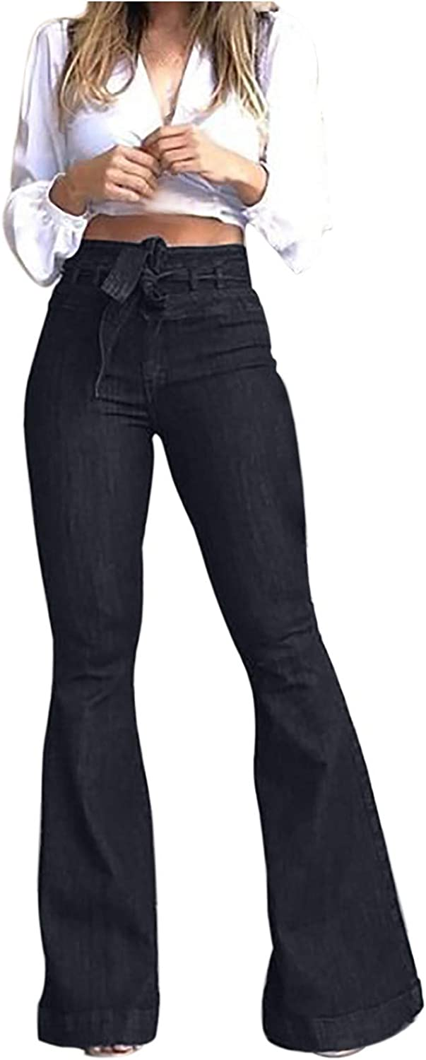 LONEA Women Destroyed Flare Jeans with Elastic Knotted Front Waist Casual Bell Bottom Hem Denim Pants for Women