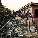 iZoeL Halloween Deko 700cm Riesige Spinnennetz + 200cm Spinne + Spinnweben + 30 Mini Spinne, Halloween Garten Deko Außendekoration Riesenspinne (Spinnennetz + Spinne + 30g Weben)