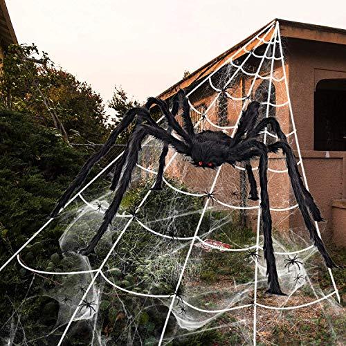 iZoeL - Set de decoración para Halloween (700 cm, araña de 200 cm, 40 g de telaraña + 30 mini arañas, decoración para Halloween, jardín, decoración exterior