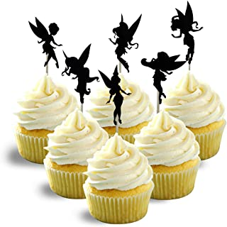 animation and fantasy inspired Party Wedding Birthday Cupcake Topper cardstock Color Blakc 12 pc Pack Decoration