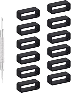 Adebena 12 Packs Rubber Replacement Watch Band Strap Loops, Watch Bands Keeper Size 18mm 20mm 22mm with Removable Tools
