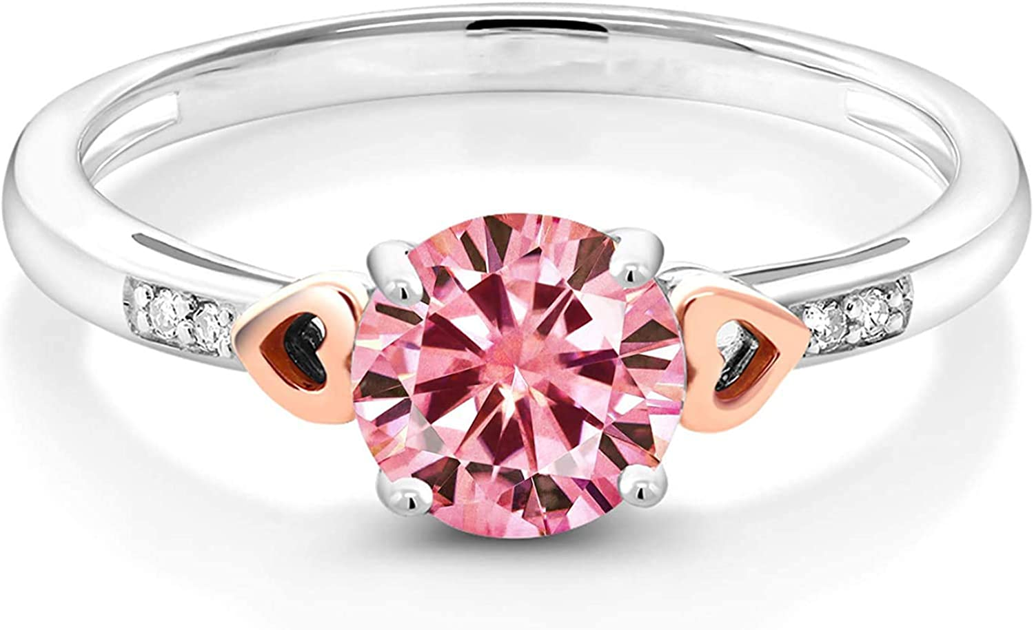 Moissanee Sterling Silver and 10k Ranking TOP2 Gold 1 Solitaire Carat Pink Di Fort Worth Mall