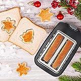 Aigostar Warrior 30JRL – 2-Scheiben Toaster, 7 Toast Bräunung Einstellung, Auftauen, Aufwärmen und Abbrechen Funktionen 750W, Schwarz, BPA frei. EINWEGVERPACKUNG. - 2