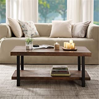 Rustic Nature Coffee Table, Aplos Large Retro Wood Slabs Coffee Table with Metal Legs and Storage Shelf for Living Room Be...