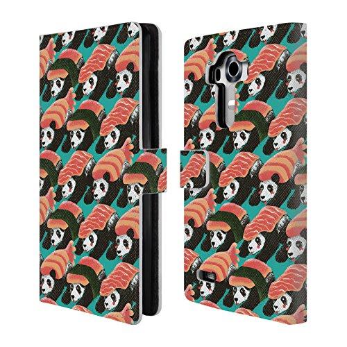 Head Case Designs Offizielle Tobe Fonseca Sushi Panda Muster Leder Brieftaschen Huelle kompatibel mit LG G4 / H815 / H810
