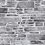 Papier peint brique pierre imitation Tapisserie 364591 36459-1 A.S. Création Il Decoro | Gris/Noir/Anthracite | Rouleau (10,05 x 0,53 m) = 5,33 m²