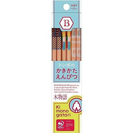 トンボ鉛筆 鉛筆 F木物語 かきかた B 水色柄 1ダース KB-KF01-B