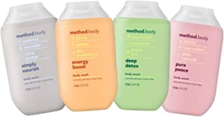Method Body Wash Set of 4 - Simply Nourish, Energy Boost, Deep Detox & Pure Peace, (3.4 oz, 100mL)