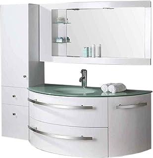 GRAFICA MA.RO SRL Muebles para baño Modelo Ambassador 120 cm para Cuarto de baño Espejo baño grifos Incl. Mueble + Columna + repisas + grifería + fregaderos