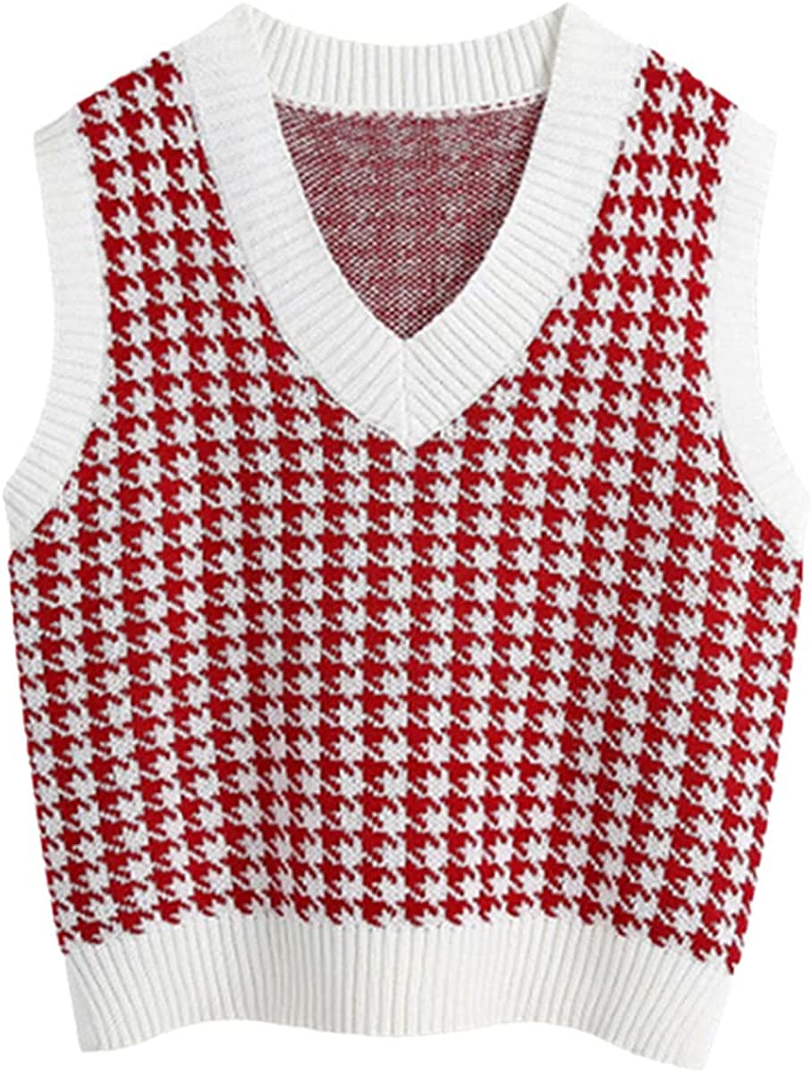 Sweater Vest Women's Pullover V-Neck Pullover Knit Vest