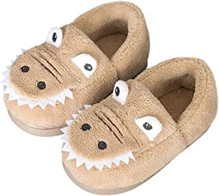 Boys Girls Warm Dinosuar House Slippers Toddler Kids Fuzzy Indoor Bedroom Shoes