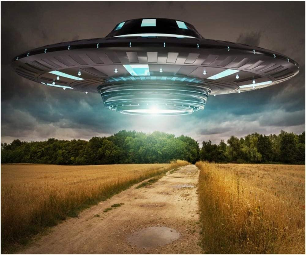 OFILA Flying Saucer Backdrop 10x8ft UFO Photography Background Outer Space Alien Photos Wild Fields Sci-Fi Evolution Events Shoots Kids Space Theme Activity Video Studio Props