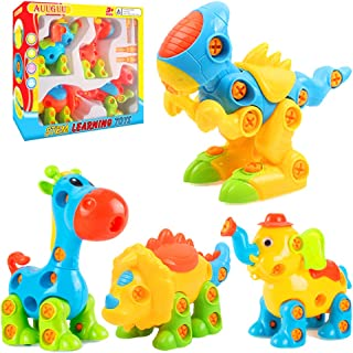 AUUGUU Take Apart Toys of Dinosaur, STEM Learning Play Set for Birthday Party, Christmas, Preschool, Educational Gifts for 3 4 5 Year Old Boy Toddler (140 Pieces)