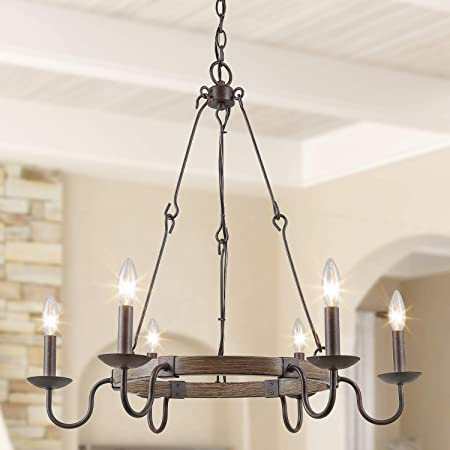 Log Barn Farmhouse Chandelier Island Lights For Kitchen 28 Large Wagon Wheel Chandelier For Dining Room Foyer In Rustic Metal Finish With 6 French Country Style Curved Arms Amazon Com
