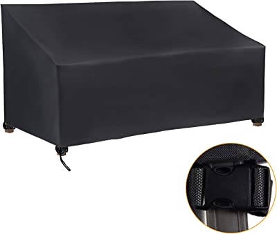 """Homsky Patio Bench Loveseat Covers Waterproof with 4 Pcs Click-Close Straps,UV Resistant Anti-Fading Patio 3 Seater Sofa Cover-Black(64"""" W x 26"""" D x 35"""" H)"""
