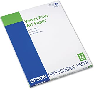 Epson S041637 Velvet Fine Art Paper, 13 x 19, White (Pack of 20 Sheets)