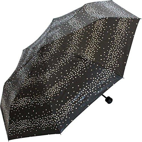 Esprit Super Mini Regenschirm Taschenschirm Milky Way mit silbernen metallic Sternen