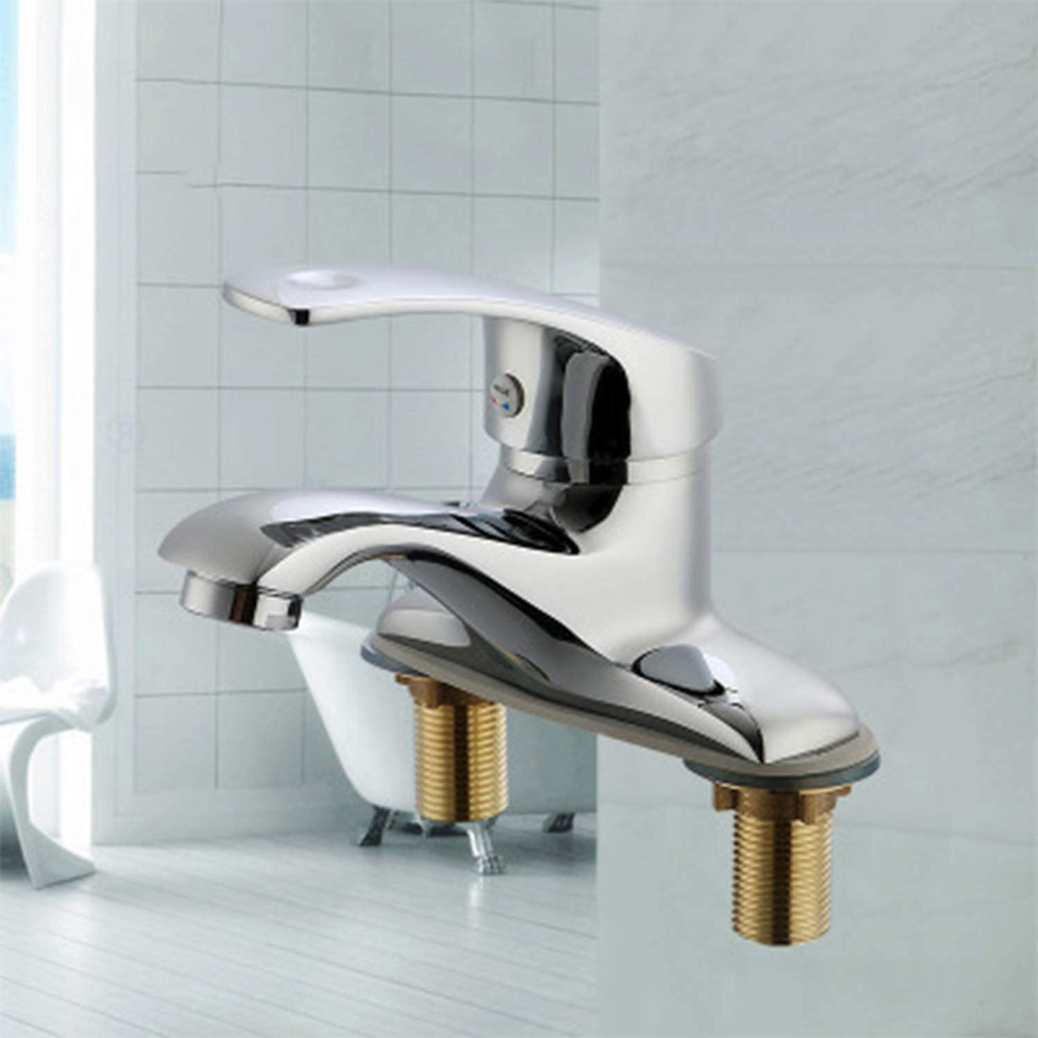 Stainless Steel Bathroom, Basin, Double Tap, Ceramic Valve Plug Mounting Hole  32 MM, Water Inlet  Standard 4 Points