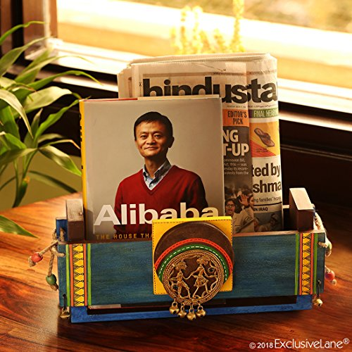 ExclusiveLane Hand-Painted Dhokra Wooden Newspaper Stand Magazine Holder, Turquoise Blue