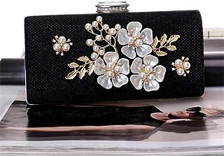 Fine Bag/Women Clutches Colorful Flower Evening Bag Sequins Satin Bag Banquet Bag (Color : Black, Size : One Size)