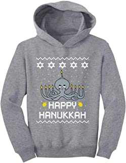 Tstars Happy Hanukkah Octopus Menorah Ugly Christmas Holidays Toddler Hoodie