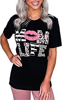 Women Mom Life Shirt Solid Color Funny Lip Print Leopard Print Letters Shirt O-Neck Short Sleeve Lip Graphic Tees