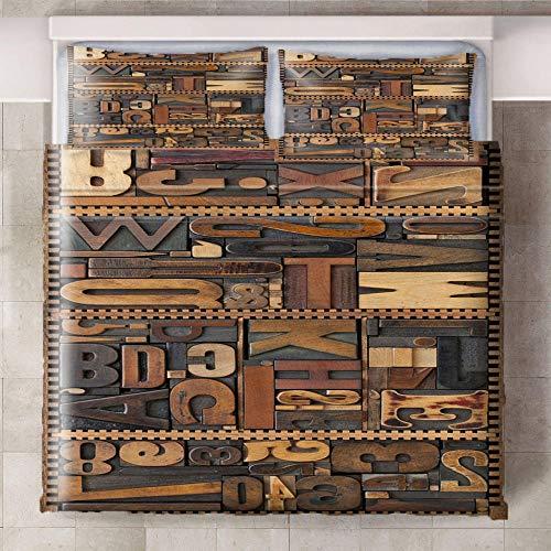 Teqoasiy - Ropa De Cama Infantil - Impresión Digital 3D Marrón Retro Metal Creativo 240x220cm 3 Piezas Suave Microfibra Juego De Funda Nórdica - Con 2 Fundas De Almohada - Antialérgico Funda De Edredó