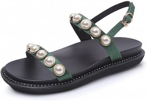 JIA Sandales décoratives de perles d'été Sandales occasionnelles de chaussures de plage Bohemian,vert,37