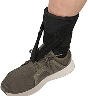 fibee Foot Up Drop Foot Brace - Soft Adjustable AFO Straps Foot Drop Brace & Low Profile Orthosis Ankle Stability Support Pads for Shoes Walking, Fits Left or Right Foot for Women and Men, Black