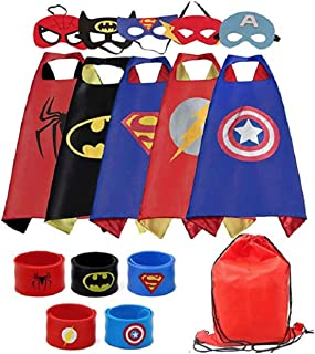 Yalla Baby Superheros Capes & Masks & Bands with Super Hero Logo Dress Up for Kids 3-12 Years 15pcs Sets