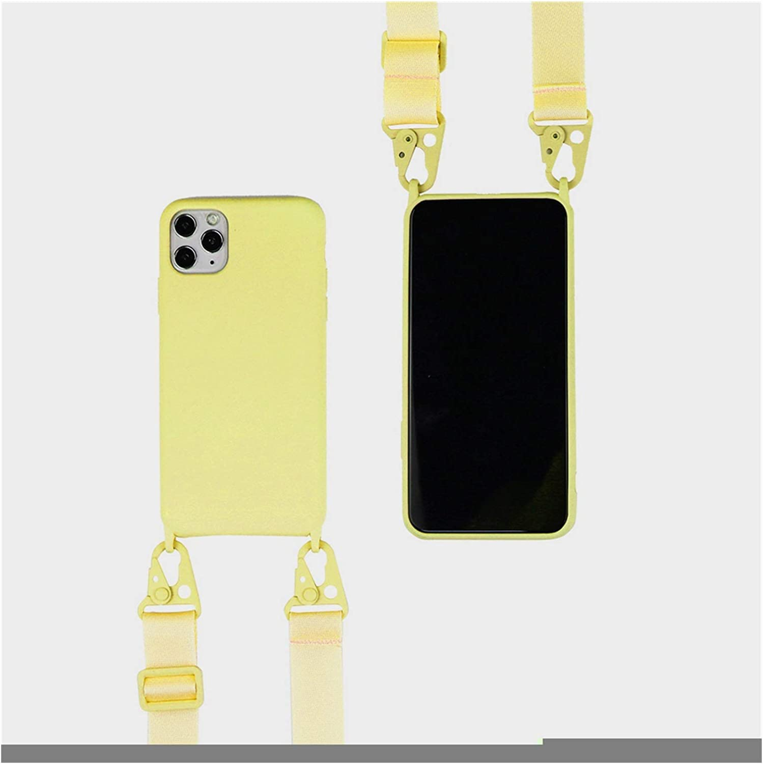 Zija Crossbody Necklace Holder Phone Case for iPhone 11 pro XS max Xr 6s 7 8 Plus Lanyard Silicone Case Cover with Cord Strap Rope (Color : Yellow Strap, Material : for iPhone12 Mini)