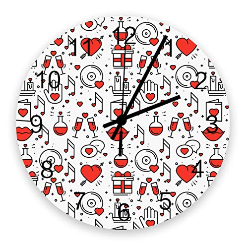 Wooden Decorative Round Wall Clock Silent Non Ticking 12 Inch Valentine's Day Large Wall Clocks for Home Office School Battery Operated Love Hearts Lips Candles
