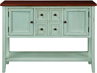 ALI VIRGO Console Table Sideboard Buffet with Four Storage Drawers Two Cabinets and Bottom Shelf Sofa Desk for Entryway, Hallway and Living Room, Green