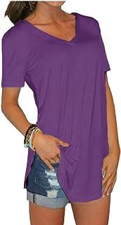 omniscient Women's Short Sleeve T Shirt V Neck Casual Curved Hem Side Slit Blouse
