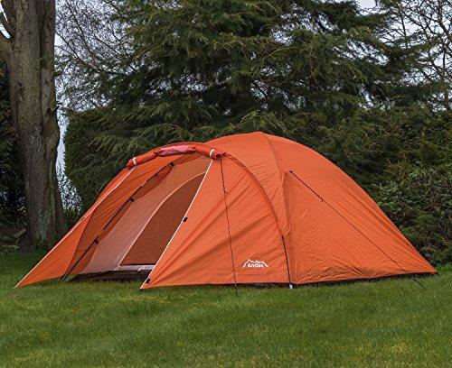 Andes Orange 4 Person Man Berth Double Skin Camping/Festival Dome Tent
