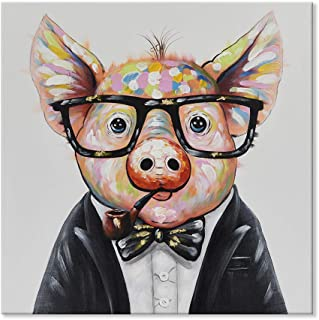 SEVEN WALL ARTS--Modern Piggie Painting Smart Pig Hand Painted Cute Pig Paintings Colorful Animal Canvas Artwork with Stretched Ready to Hang for Home Decor 24 x 24 Inch