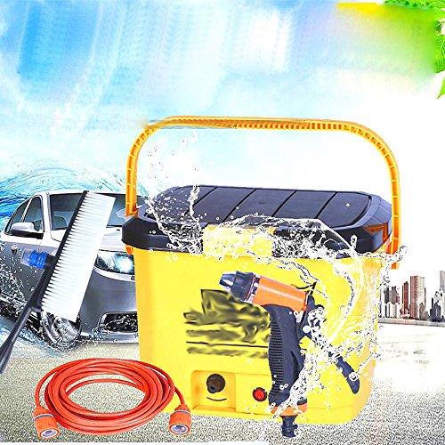 32L Portable Haute Tension Véhicule Électrique Lavage Voiture 12 V Maison Libre-Service Lavage de Voiture Pompe Pistolet à Eau Machine de Nettoyage,Jaune