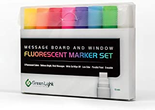 Green Light Innovations Dry Erase Markers – 8 x 15mm Parallel Tip Fluorescent Neon Marker Pens for LED Message Boards, Whiteboards, Windows - Instant Impact for Your Notices – Low-Odor, Easy Clean