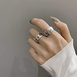 Aimimier Gothic S925 Knuckle Rings Set 2Pcs Smile Face Finger Ring Band Half Open Midi Ring for Women or Men
