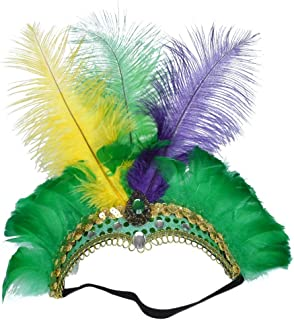 Fascinator Handmade Impost Ostrich Feather Headdress Masquerade European and American Retro Style Perform Hair Hoop tire ( Color : Yellow Green Purple )