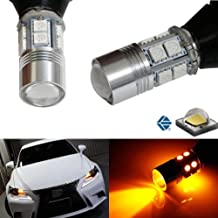 iJDMTOY No Hyper Flash Amber Yellow 7440 T20 5W CREE LED Bulb Kit For Car Front or Rear Turn Signal Lights (Plug-In-Play, No Modification)
