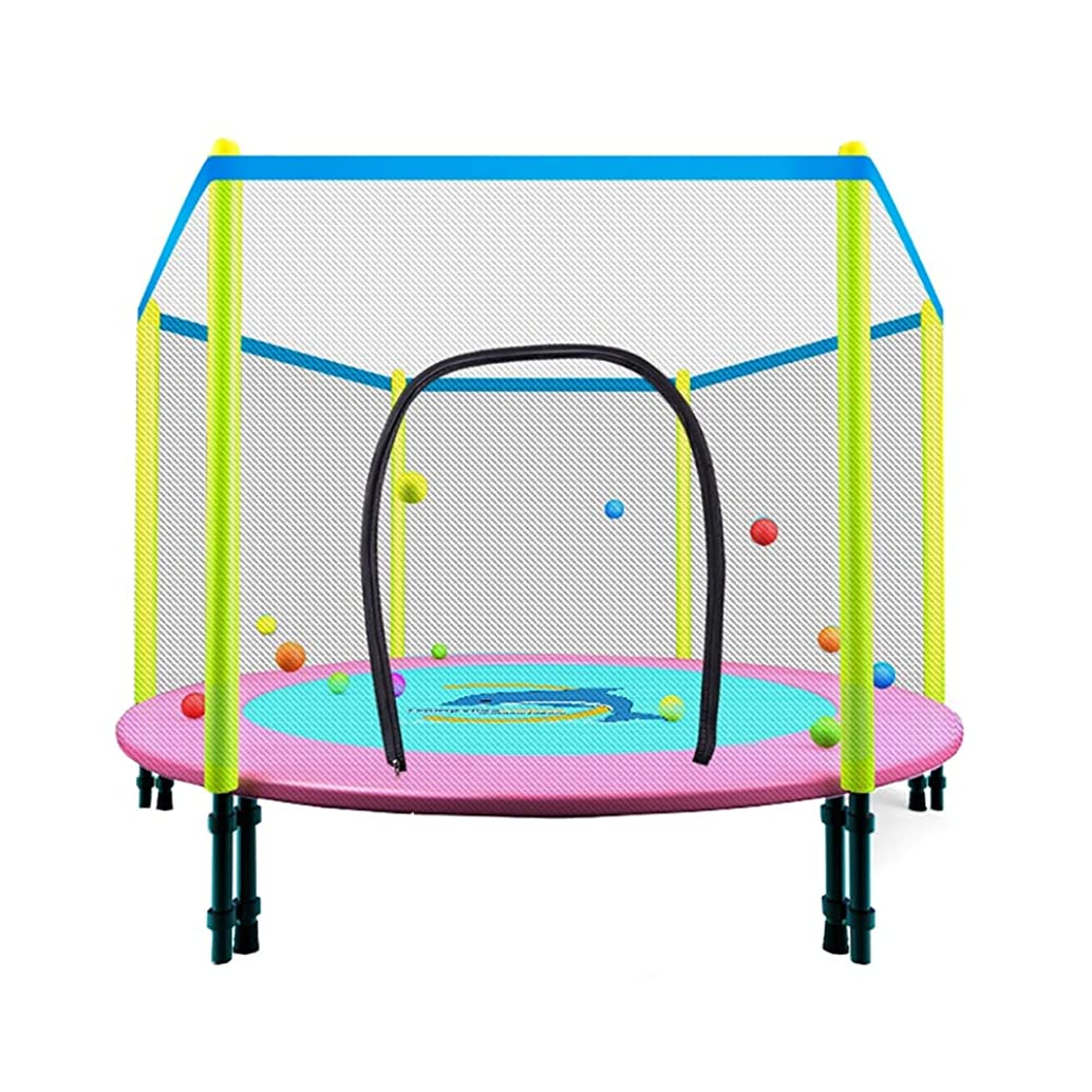 Trampoline YXX Folding with Enclosure Net, Fitness Rebounder Safety Jumper for Home Gym Exercise (Color : Pink)