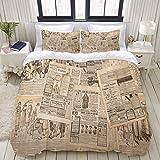 Miwaimao Bedding Bettwäsche-Set,Antike Zeitungsseiten mit Werbung und Modemagazin Frau Edwardian...