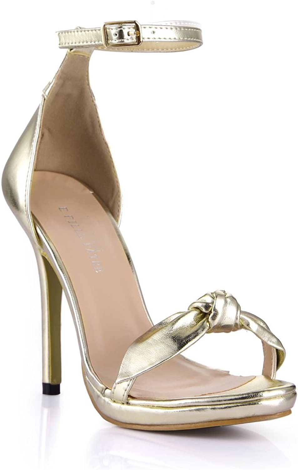 Dolphin Women's golden Bowtie Open Toe High Heel Sandals with Ankle Strap SM00005
