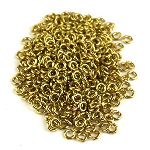 Pomcat 200 Stks 1/4 in gouden kleur koper springen ringen zaag gesneden keten Mail