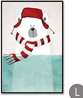 Wall Art Canvas Cartoon Polar Bear Hippo Canvas Wall Art Posters Print Nordic Penguin Pictures for Kids Baby Boy Girl Room Wall Decor No Frame,A4 21X30Cm No Frame,L